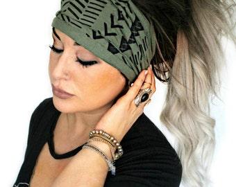 Green Envy Scrunch Headband, Extra Wide Headband, Extra Wide Jersey Headband, Boho Headband, Boho head wrap (women, teen girls)