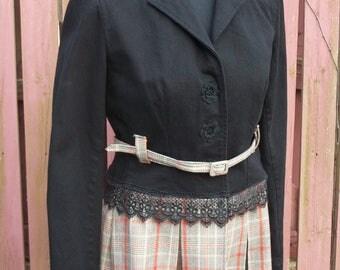 Upcycled Jacket-Black Denim Jacket-Plaid Kilt Ruffle-Altered Upcycled Refashion-Size SMALL