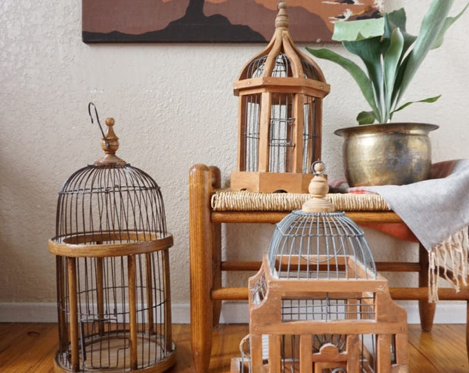 Vintage Wood and Wire Bird Cage - Multiple Selections