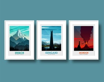 Poster Art Print set of The Lord of the Rings Poster - Erebor Poster- Isengard  Poster - Mordor Poster - Lord of the Rings Poster