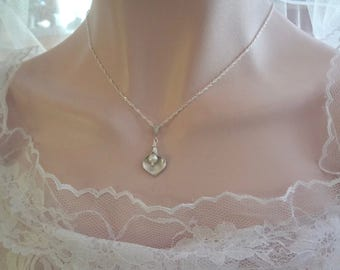 Silver Calla Lily Necklace ~ Sterling silver chain - Freshwater Pearl necklace - Classic - Brides necklace ~ Bridesmaids jewelry~  Gift