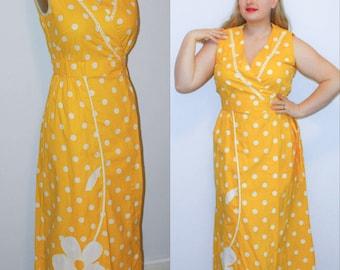 70s Wrap Maxi Dress Polkadot Dot Daisy Sundress V Neck Surplus Size L XL Plus