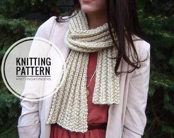 KNITTING PATTERN ⨯ Ribbed Knit Scarf Pattern, Easy Knitting Pattern ⨯ Chunky Winter Fashion Scarf, Beginner Knit Pattern ⨯ Easy Knit Pattern
