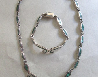 Mexican Sterling Silver Genuine Turquoise Inlay Necklace and Bracelet Set 76.9 Grams South Western Style Boho Western Wedding