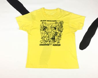 70s Black Heritage Creative Genius Yellow T Shirt / Ametco Ltd 1978 Chicago / Black Pride / Black History / Soft / Large / 1970s / Vintage