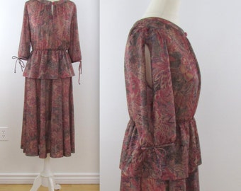 Dusk Garden Peplum Dress - Vintage 1970s Dark Floral Circle Skirt Dress in Medium