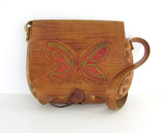 70s Boho Leather Butterfly Saddle Bag - Vintage 1970s Large Festival Purse