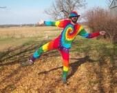 S M L XL 2XL Tie Dye Long Johns, Tie dye union suit, pajamas, adult onesie, Rainbow  tie dye thermal