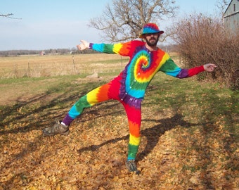 S M L XL 2XL Tie Dye Long Johns, Tie dye union suit, pajamas, adult one piece, Rainbow  tie dye thermal