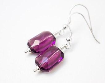 Amethyst Earrings , Amethyst Crystal Earrings , Amethyst emerald cut earrings , Purple earrings , February birthstone earrings , Geometrical
