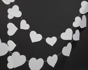 Valentines garland, Valentines day decorations, white hearts garland, hygge valentines decor, photo backdrop, rustic white wedding decor