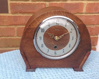 Smiths Enfield Mantel Shelf Clock - Large Wooden Clock - Recycled Vintage
