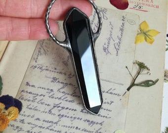 Obsidian Necklace, Black obsidian, CRYSTAL Point Necklace, statement necklace ,Bohemian,unisex crystal pendant, black crystal,