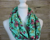 Aqua Floral Infinity Scarf, Purple, Mustard, Pink, Green, Floral Scarf, Christmas Gift, Holiday Scarf, Women's Gift, Gift for Her