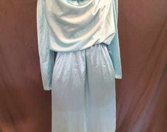 Plus Size Vintage: Powder Blue 80s Satiny Shiny Disco Cowl Neck Dress