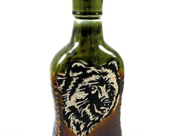 Flask Whiskey Bottle Decanter Black Bear on earth tones