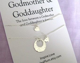 GODMOTHER necklace.  Godmother  GODDAUGHTER. Goddaughter Godmother Gift. Godmother Necklace Sterling. Gift for Godmother. Godchildren