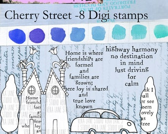 Cherry Street - 8 digi stamp set with house, tree and automobile