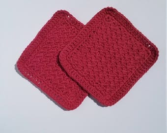 Red Cotton Washcloth Set, Red Crochet Facecloth, Crochet Dishcloth, Ready To Ship