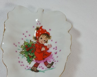 Lefton Japan Hand-painted Soap Dish, Christmas 1960's