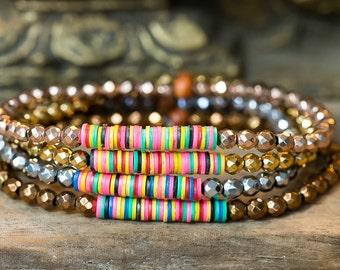 Beaded Bracelet, Stacking Bracelet, Boho Bracelet, Stretchy Bracelets, Hematite Bracelet, Rose Gold Bracelet, Vinyl Bracelet, Bohemian