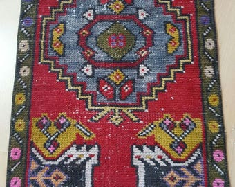 Vintage Oushak Pillow Cover / 2 by 3 / Red-Saffron / Boho / Rustic / Konya / Medallion Rug - 34 in x 19 in