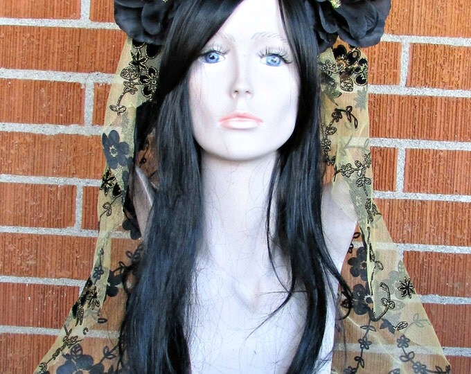 Flower Crown, Black and Gold Rose Crown, Day of the Dead Flower Crown, Día de los Muertos Headdress, Veiled Headdress, Lace Headband