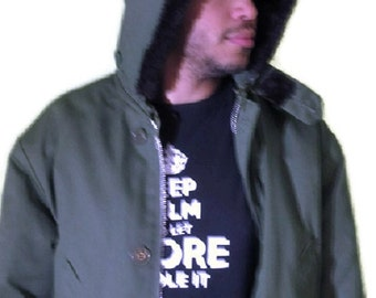 Parka Jacket Military Faux Fur Hoodie Extreme Cold Insulated Quilted Lining Green Men XL
