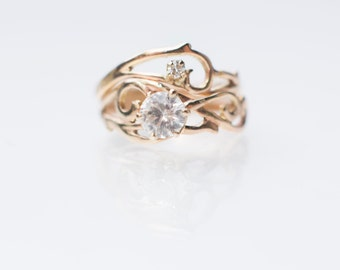 Swirly Elvish Gold Engagement Bridal Ring Set with White Sapphire and Vintage Diamond - Handcut Unique Filigree Alternative Palladium White