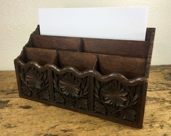 Vintage Lerner Faux Wood Desk Organizer 6 Compartments