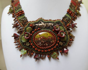 SALE, Lucky Grasshopper, Guadalupe Poppy Jasper, Copper Grasshopper, Picasso Flower and Leaf Beads, Free Form Bead Woven Collar Necklace