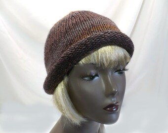 Hand Knit Brown Rolled Brim Hat: Striped Bucket Hat, Retro Slouchy Hat, Handmade in the USA, Vegan Hats, Ready to Ship