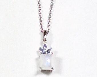Rainbow Moonstone and Tanzanite Necklace in Platinum Handmade Jewellery by NorthCoastCottage Jewelry Design & Vintage Treasures