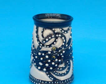 Octopus Beer Stein, Mug, Pint, Father's Day Gift, Black and white
