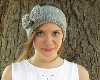 Knot Headband, Knit Headband, Bow Gray Headband, Top Knot Hair Wrap, Turban Crochet Headband, Big Knot Headband Knit Cute Headband Earwarmer