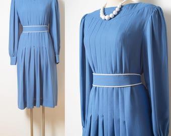 60s Dress, Vintage Blue Dress, Mad Men Dress, 60s Blue dress, Vintage pleated dress, Vintage formal dress, Blue Vintage dress - L/XL