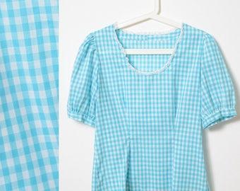 Vintage 50s Top, Vintage Babydoll Top, vintage gingham top, 50s blue Top, Blue gingham top, Puff sleeve top, 50s babydoll top - M