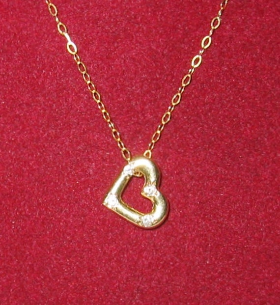 "14K Solid Yellow Gold, ""Diamond Heart"" Slide Pendent or Charm...CUTE !"