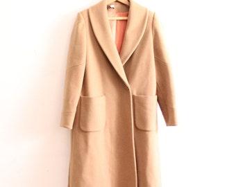Vintage Camel Wool Swing Coat