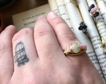 Wire wrapped COPPER and pink OPAL HAMMERED statement ring