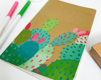 CLEARANCE - Notebook | Hand Painted | Cactus| Journal | Cactus Design | Gift For Her | Gift Idea | Painted Cactus | Journaling Gift | Cacti