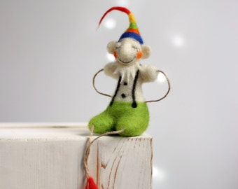 Needle Felted Santa's Elf - Dreamy Christmas Elf - Christmas Decoration - Needle Felted Art Doll - Christmas Ornaments - Christmas Decor
