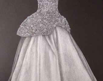 5x7 Custom Wedding Gown Drawing