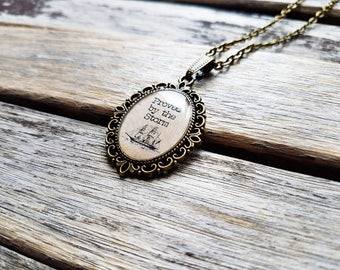 Proved By The Storm Cameo Pendant - Nautical Ship Necklace - Inspirational Quote Jewellery - Good Luck Gift - Never Give Up - Encouragement