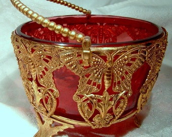 Victorian Aesthetic Butterflies Gilt Basket with Cranberry Glass Bowl Liner 1869