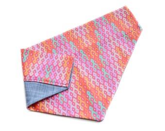 Pink Geometric Dog Bandana - Sorbet Pink Modern Aztec Tribal Reversible Monogram Chambray Hot Pink, Orange, Turquoise Pet Scarf Neckerchief