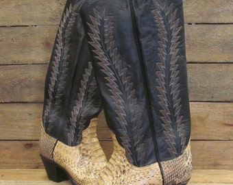 Vintage LARRY MAHAN Ladies 7.5B Tall Snakeskin & Leather Cowgirl Western Boots