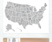 USA map poster, giant coloring page, USA travel map, sales map, USA map art print, floral colouring page, United States coloring poster
