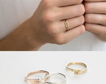Simple Personalized Ring, Gift for Sisters Ring, Friend Ring, Mom • Custom Hand Stamped HUG RING Sterling Silver Ring /14K Gold Filled LR452