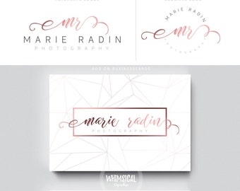 rose gold swirly  initials circle nutral businesscards  simple modern feminine branding- logo Identity artist makeup wedding photographer